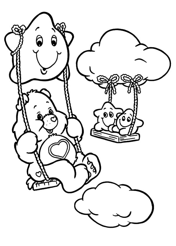 Care, : Care Bears Swinging with Star Coloring Pages