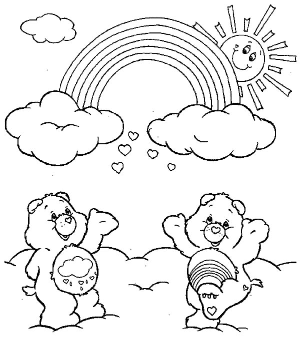 Care, : Care Bears Watching the Rainbow Coloring Pages
