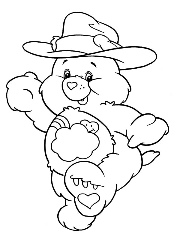 Care, : Care Bears Wearing Cowboy Hat Coloring Pages