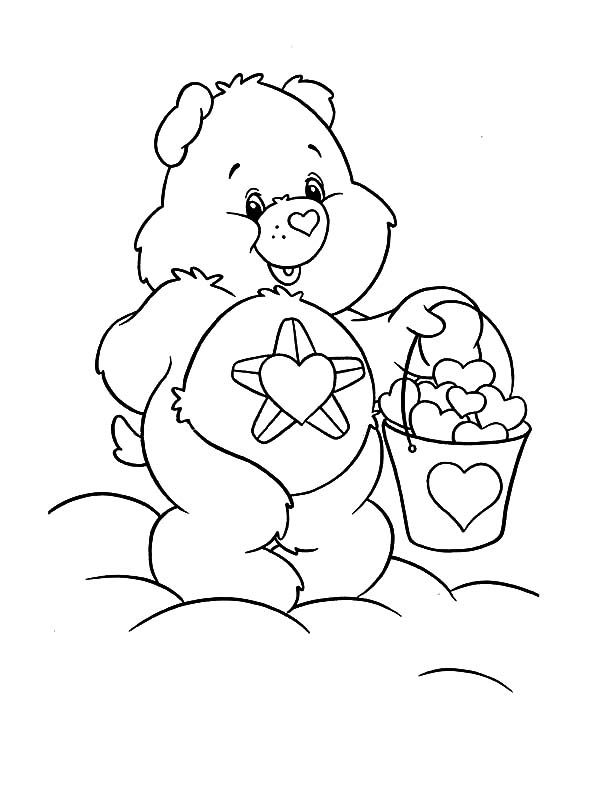 Care, : Care Bears with Bucket Full of Heart Coloring Pages