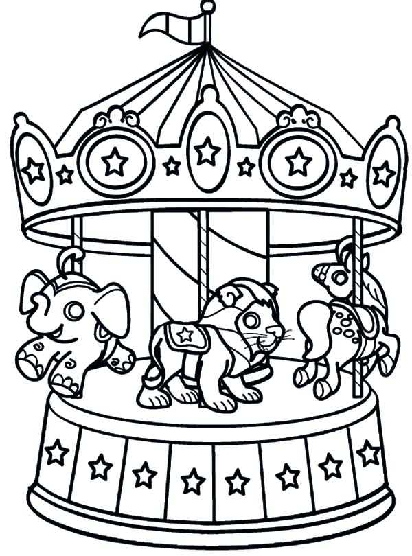 Carnival, : Carnival Carousel Animal Coloring Pages
