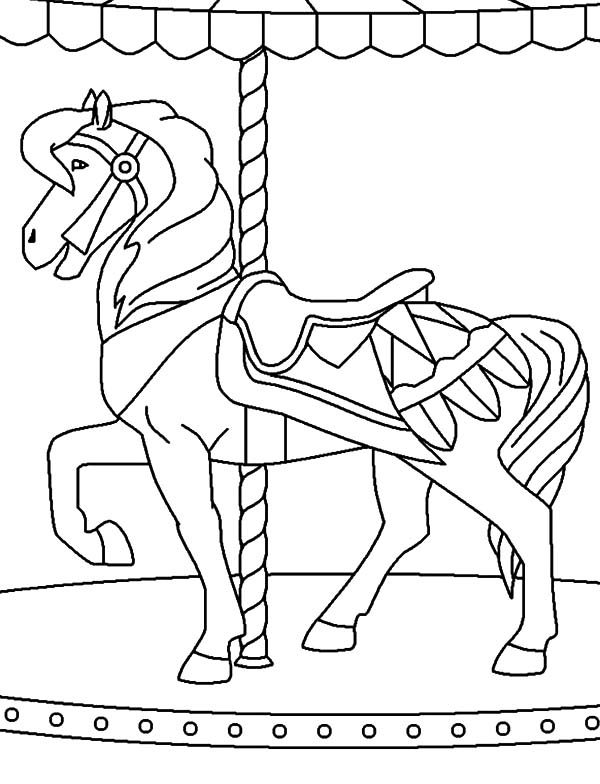 Carnival playing bumper cars coloring pages best place for Carousel horse coloring page