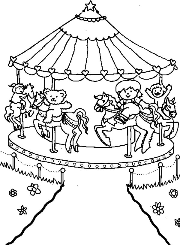 Carnival, : Carnival Carousel Picture Coloring Pages