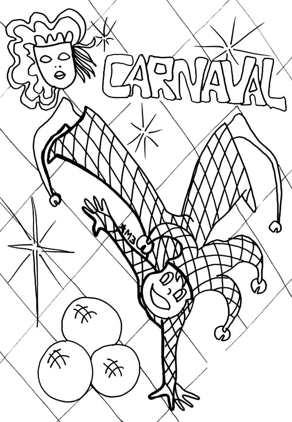 Carnival, : Carnival Clown Dance Coloring Pages