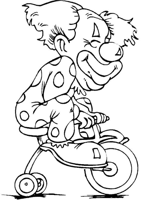 Carnival, : Carnival Clown Riding Tricycle Coloring Pages