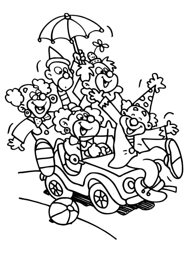 Carnival, : Carnival Clowns Ride Little Car Coloring Pages