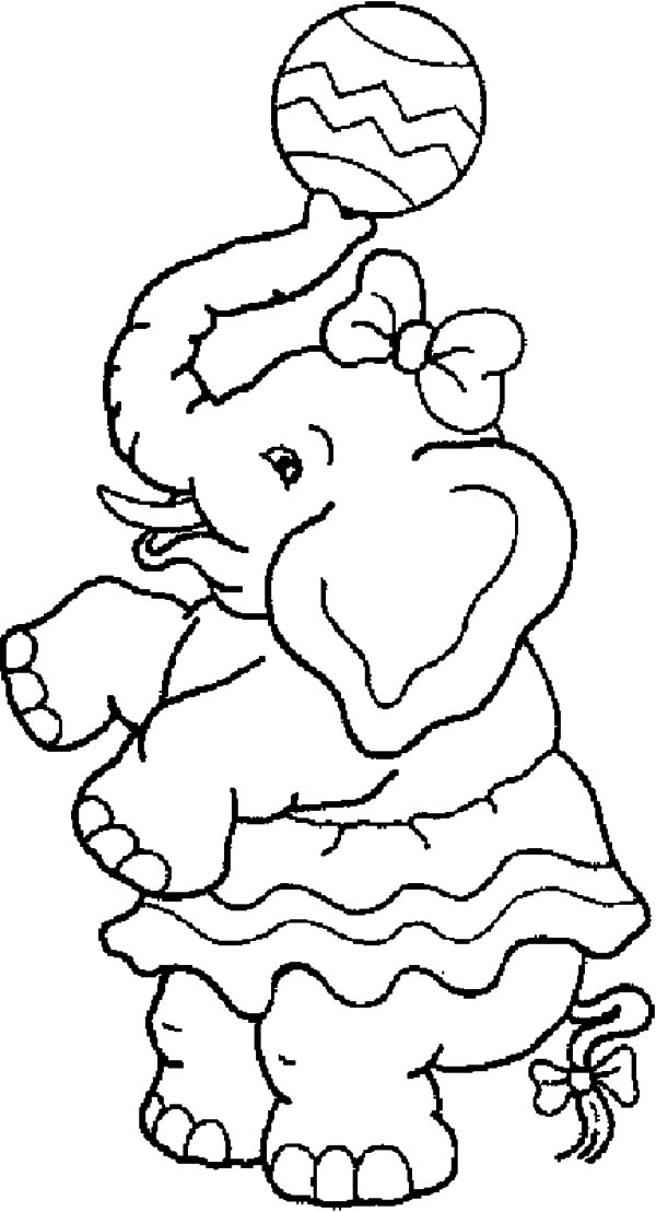 Carnival, : Carnival Elephant with Ball Coloring Pages