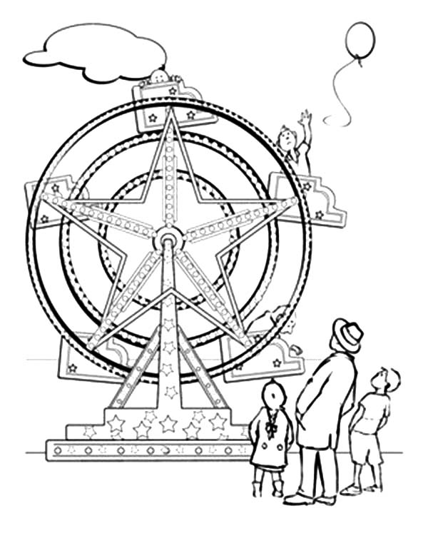 Carnival, : Carnival Ferris Wheel Coloring Pages