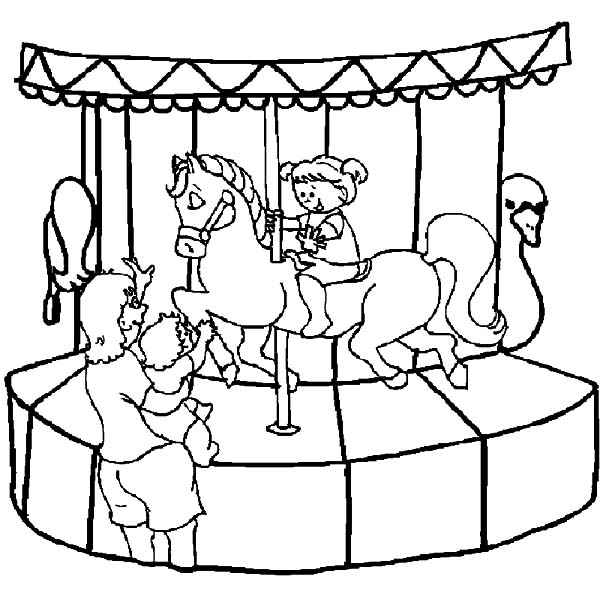 Carnival, : Carnival Little Kid Want to Ride Carousel Coloring Pages