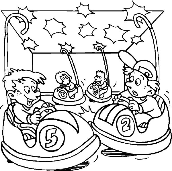 Carnival, : Carnival Playing Bumper Cars Coloring Pages