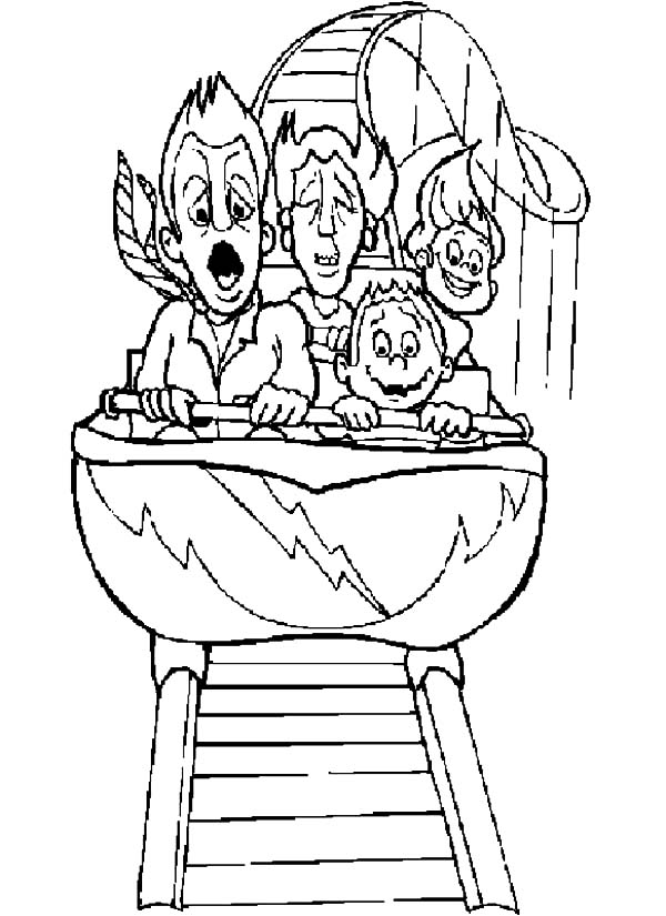 Carnival, : Carnival Screaming at Roller Coaster Coloring Pages