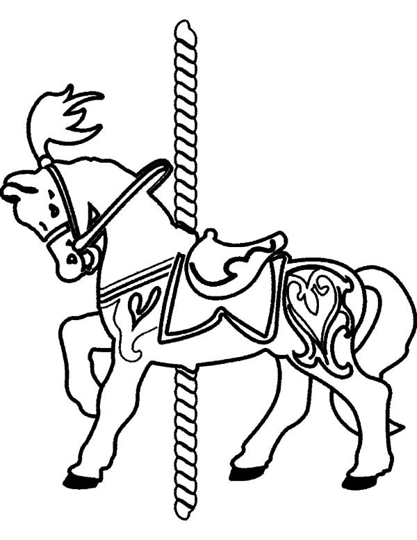 Carousel Horse, : Carousel Carnival Horse Coloring Pages