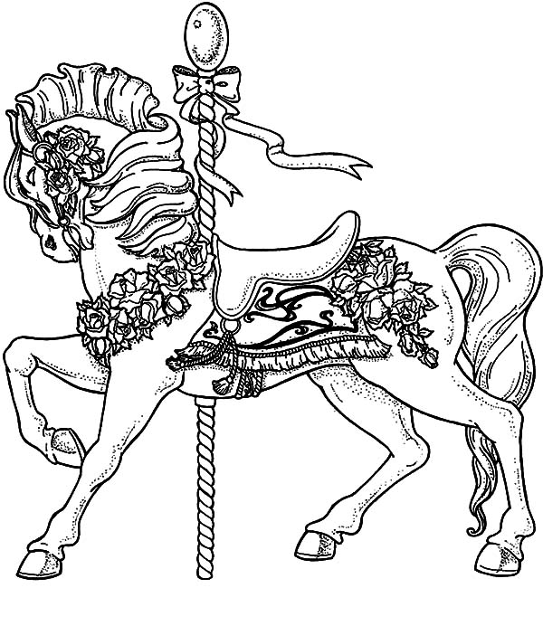 Carousel Horse, : Carousel Horse Beside Pool Coloring Pages