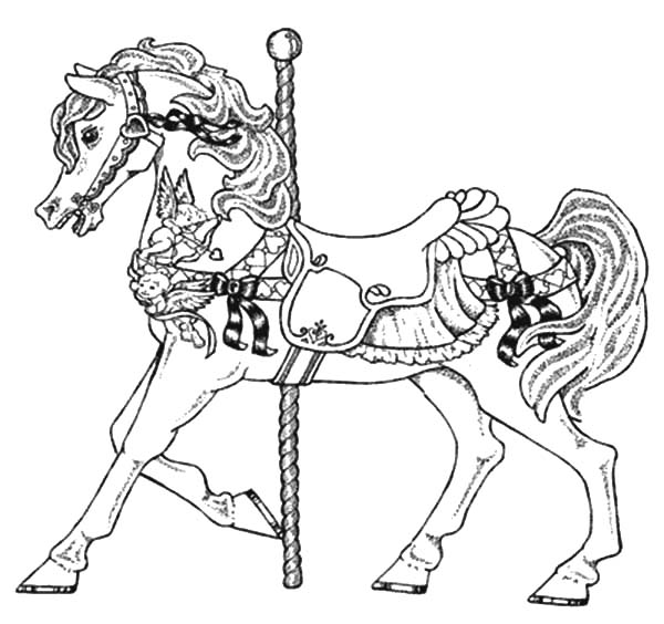 Carousel Horse, : Carousel Horse Carnival Coloring Pages