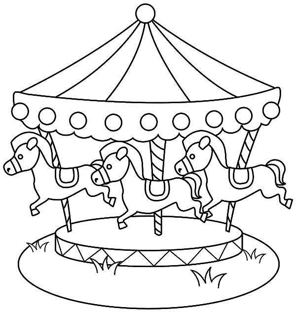 free carousel coloring pages - photo#12