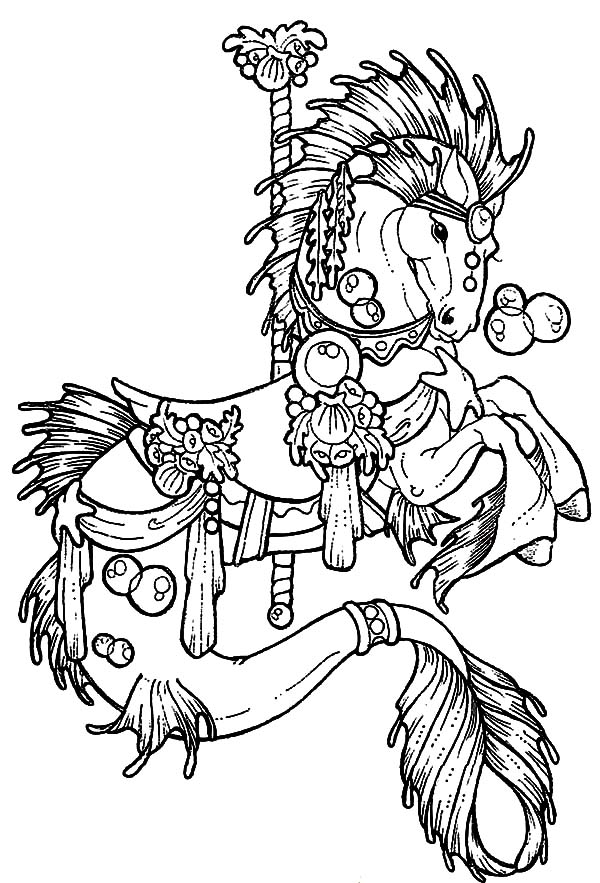 Carousel Horse, : Carousel Horse Hippocampus Coloring Pages