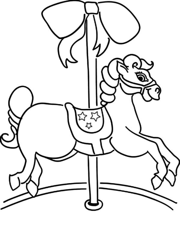 Carousel Horse, : Carousel Horse Moving Slowly Coloring Pages