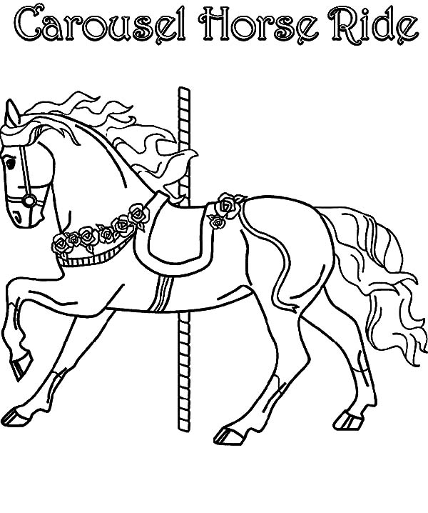 Strong carousel horse coloring pages strong carousel for Carousel horse coloring page