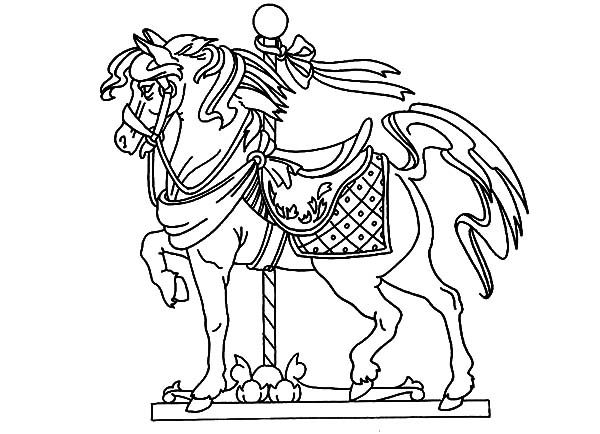 Carousel Horse, : Carousel Horse Standing Tall Coloring Pages