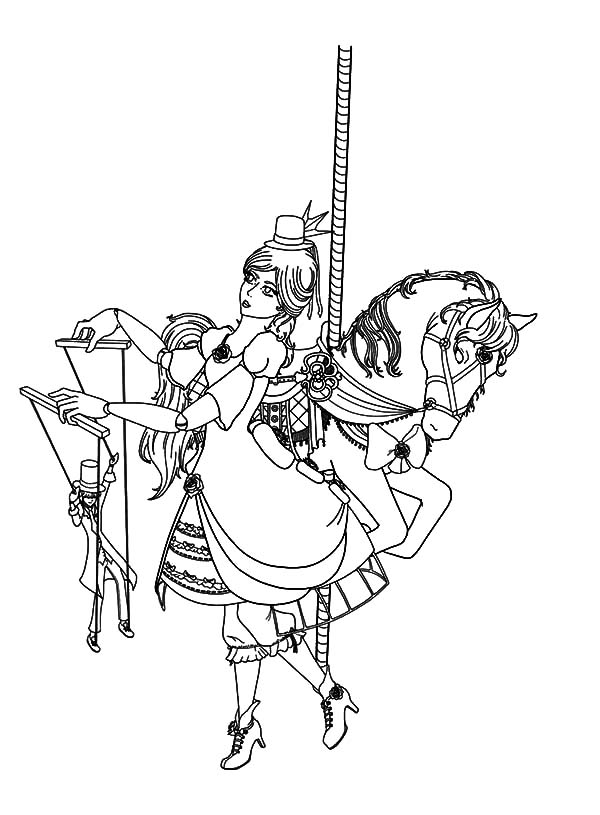 Carousel Horse, : Carousel Horse and Lady Puppet Master Coloring Pages