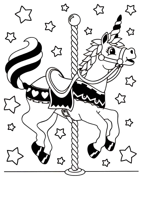 Carousel Horse, : Carousel Unicorn Horse Coloring Pages
