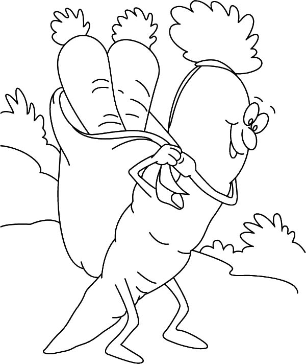 Carrot, : Carrot Carrrying Carrots Coloring Pages