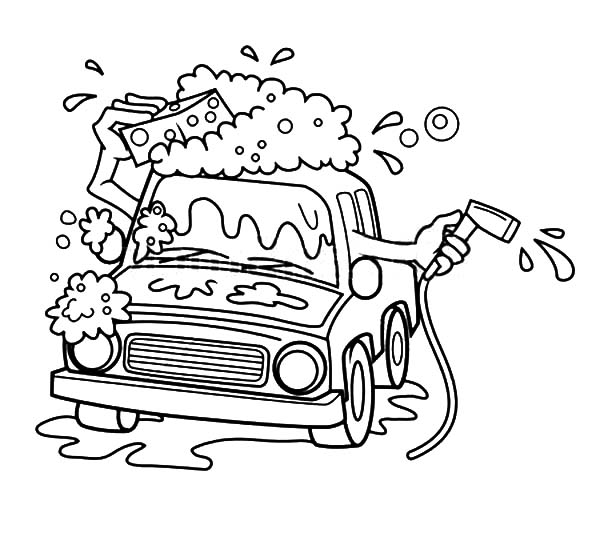 Car Wash, : Cartoon Automatic Car Wash Coloring Pages