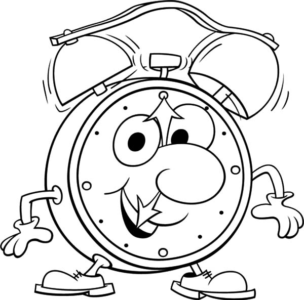 Clock, : Cartoon Clock Character Coloring Pages