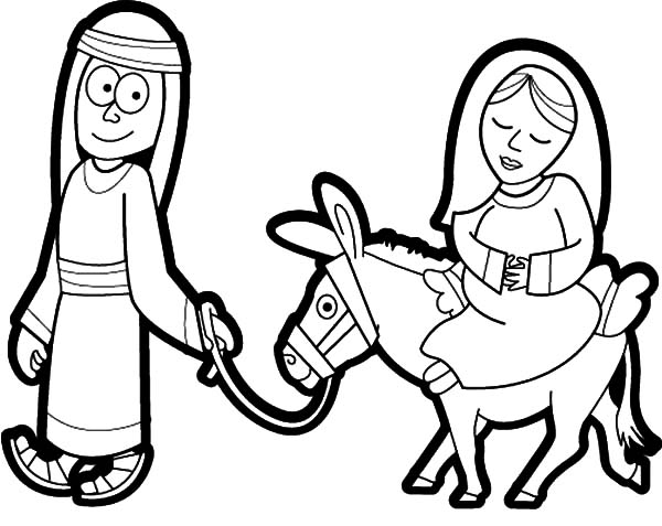 Cartoon Picture Mary and the Donkey Coloring Pages | Best Place to Color