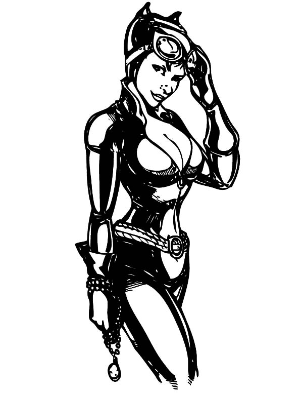 Catwoman, : Cat Women Giving Her Look Coloring Pages