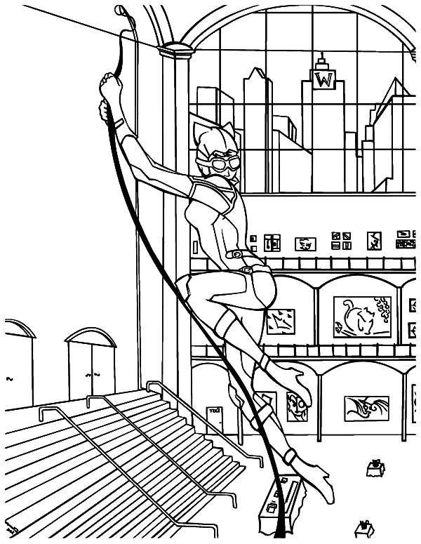 Catwoman, : Cat Women Hanging on a Rope Coloring Pages