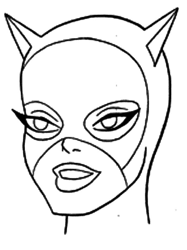 Catwoman, : Cat Women Head Picture Coloring Pages