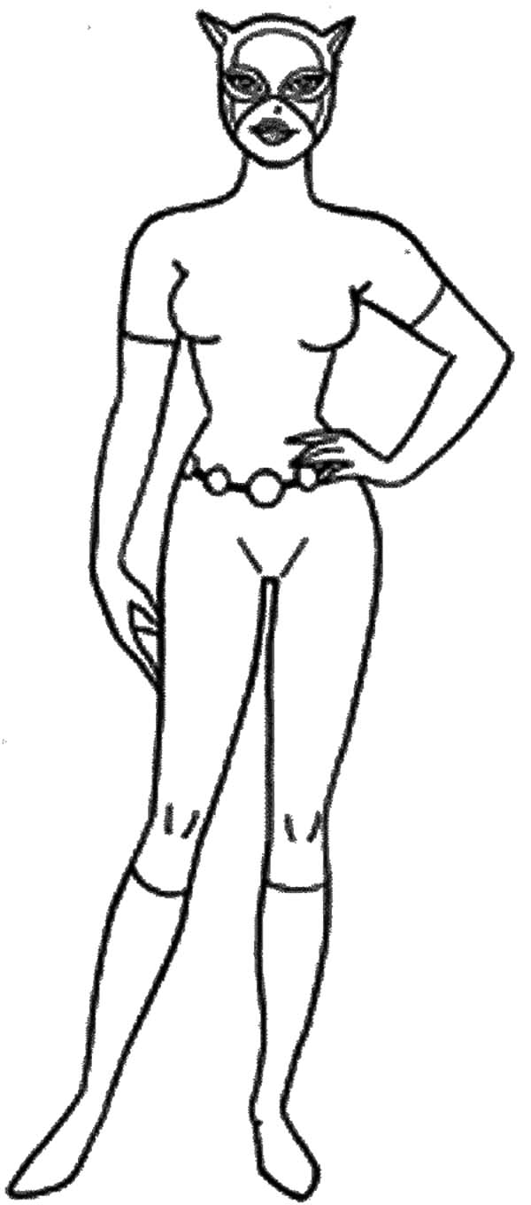 Cat Women Standing Coloring Pages