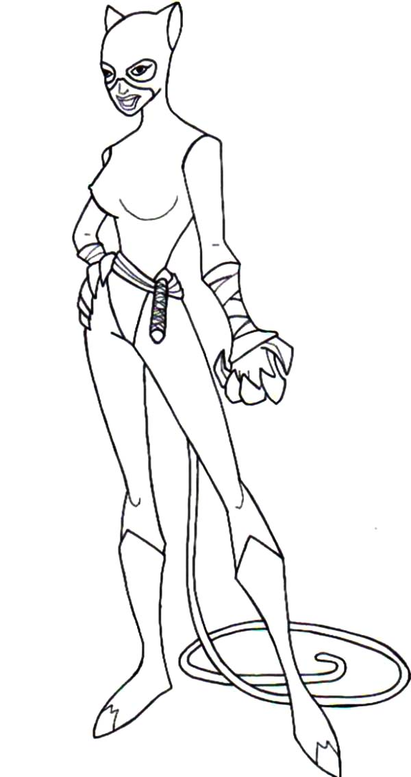 Catwoman, : Cat Women Strong and Sharp Claws Coloring Pages