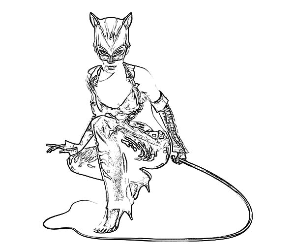 Catwoman, : Cat Women Whips Coloring Pages