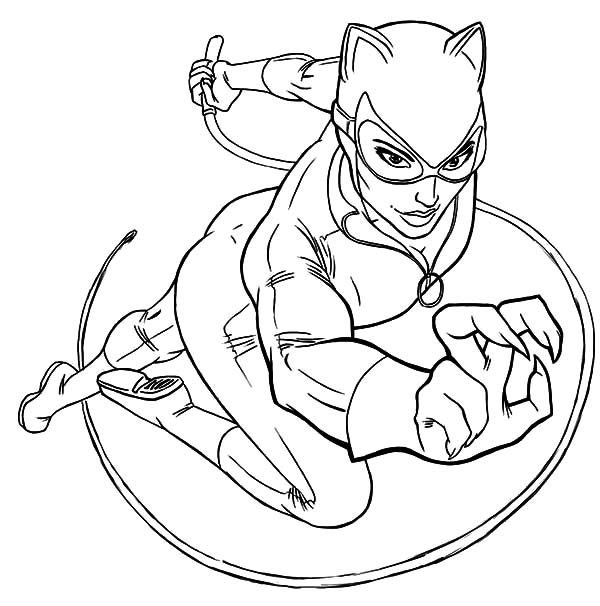 Cat Women In Action Coloring Pages