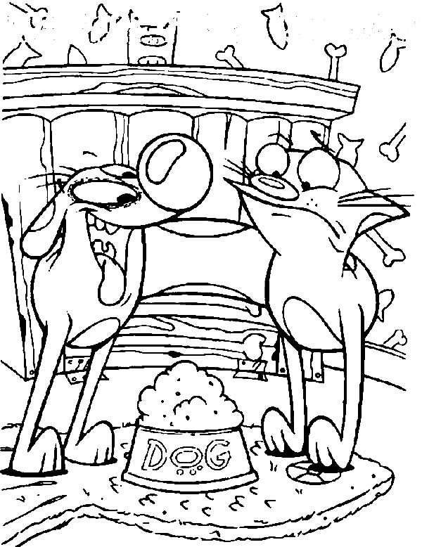 Catdog, : Catdog Eating Dog Food Coloring Pages