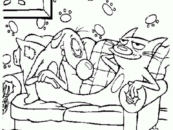 Catdog, : Catdog Sitting on Couch Coloring Pages