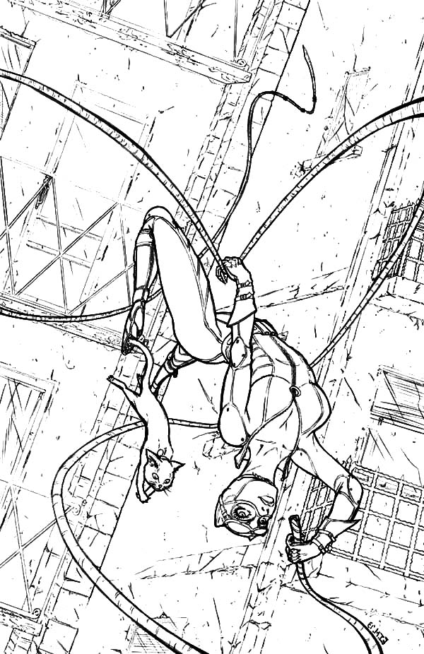 Catwoman, : Catwoman Acrobatic Jump Coloring Pages