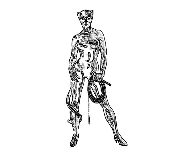 Catwoman, : Catwoman Neon Glow Coloring Pages