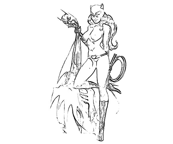Catwoman, : Catwoman Squeezing Batman Costume Coloring Pages