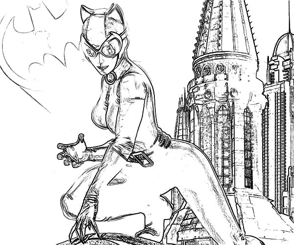 catwoman batman free colouring pages