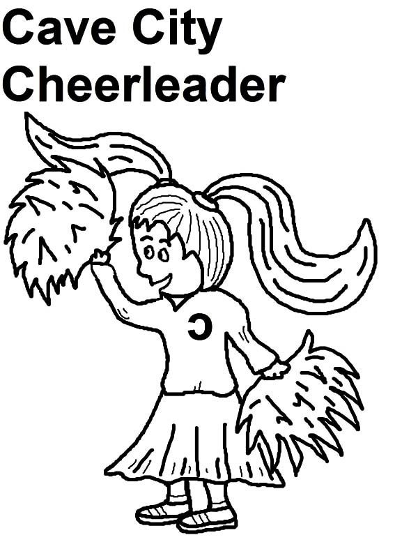 Cheerleader, : Cave City Caveman Cheerleader Coloring Pages