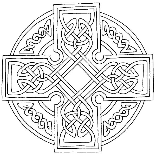 Celtic Cross, : Celtic Cross Combined Ring and Cross Coloring Pages