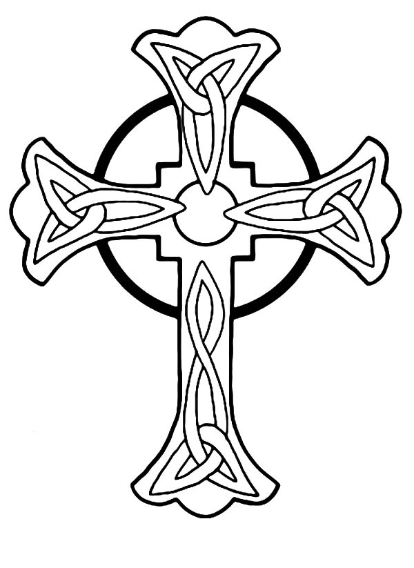 Celtic Cross, : Celtic Cross Tattoo Art Coloring Pages