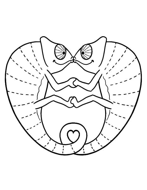 Chameleon, : Chameleon in Love Coloring Pages