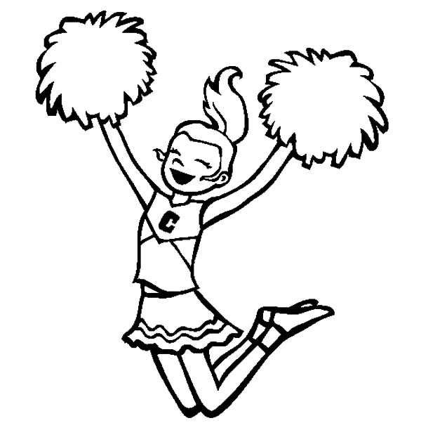 Cheerleader, : Cheerleader Cheerleading for Her College Basketball Team Coloring Pages