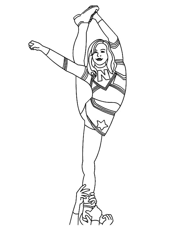 Cheerleader, : Cheerleader Difficult Stunt Coloring Pages