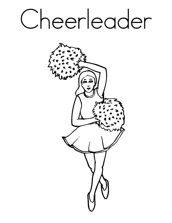 Cheerleader, : Cheerleader Holds Two Metalic Color Pompon Coloring Pages