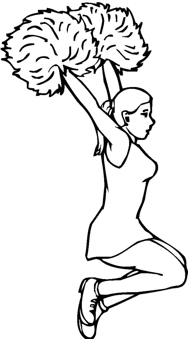 Cheerleader, : Cheerleader Jump from Human Pyramid Coloring Pages